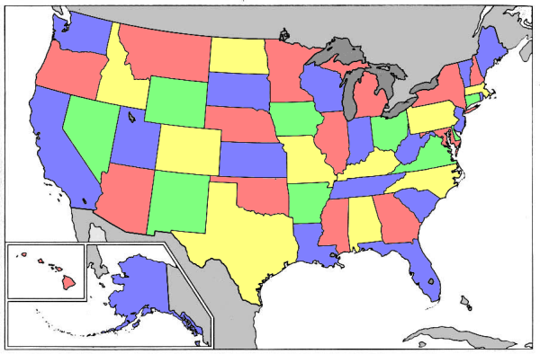 A four color map of the United States.