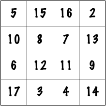 A 4x4 magic square with magic constant 38.