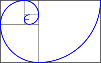 Squares made from the Fibonacci sequence.