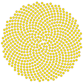 Configuration of seeds with gamma = the golden angle.