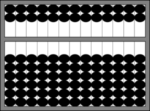 An idealized abacus showing zero.