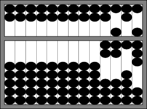 An idealized abacus showing 2718.