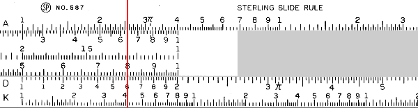 A slide rule showing multiplication by 2.