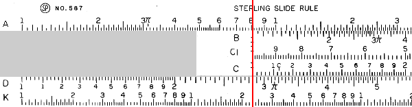 A slide rule showing division.