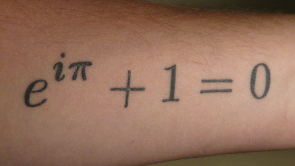 Euler's Identity as it appears on my arm.