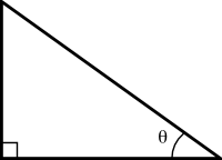 A right triangle with the angle theta labeled.