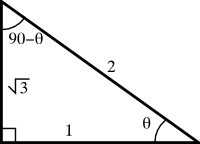 A right triangle with all sides and angles labeled.