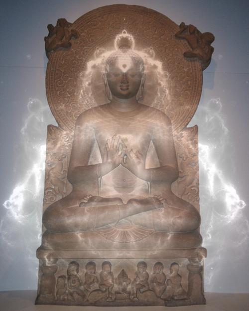A Gautama Buddha statue and a 'Buddhabrot'. Image Credit: http://en.wikipedia.org/wiki/Gautama_Buddha